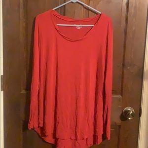 Women's Size 20W Orange Long Sleeve Shirt: Cato